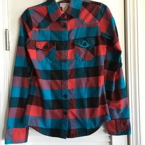 O'Neill Boys' Plaid Flannel Button Down Shirt SZ S